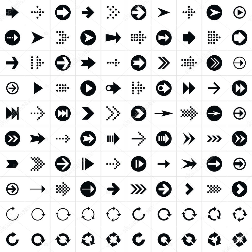 100 arrow sign icon set