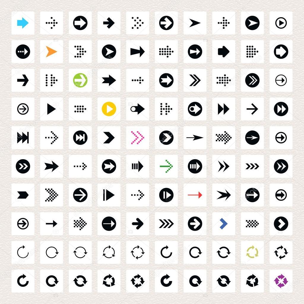 100 arrow sign icon set. Black pictogram on white circle shapes. Modern simple minimal, flat, solid, mono, monochrome, plain, contemporary style. Vector illustration web internet design element 8 eps