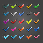 Photo 25 check mark glossy web button. Variation color for internet button on gray background with noise texture effect. Vector 10 eps. See more web design element template in my gallery