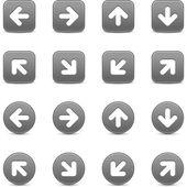 šedé tlačítko internet s bílou šipkou. kulaté a čtvercové obrazce se stínem na bílém pozadí. Tato vektorové ilustrace uložené v 8 eps