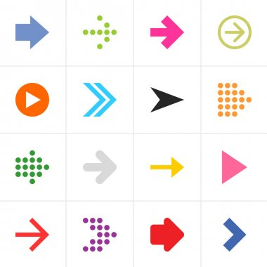 16 arrow sign pictogram set
