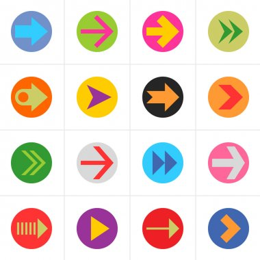 16 arrow pictogram in color circle sign set