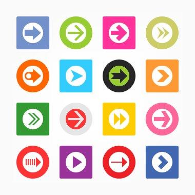 Arrow icon set sign in white circle