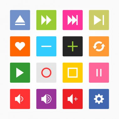 Media player control button ui icon set. Simple rounded square sticker internet sign gray background. Solid plain mono one-color flat tile. Newest style. Vector illustration web design elements 8 eps clip art vector
