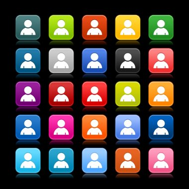 25 smooth satined web 2.0 button with user profile sign. Colored rounded square shapes with black shadow on gray background. This vector illustration saved in 8 eps