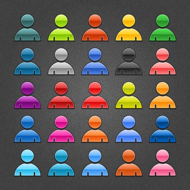 25 user profile glossy web button. Variation color for internet button on gray background with noise texture effect. Vector 10 eps. See more web design element template in my gallery