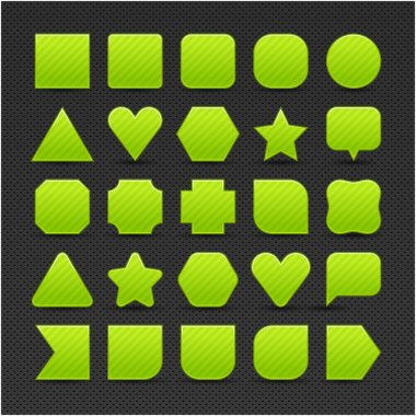 25 variations form green button with light stripes. Satin shapes with shadow on perforated metal seamless texture black background. Vector 10 eps. See more web internet design elements in my gallery