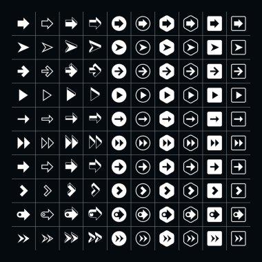 Set of 100 arrows on a black background