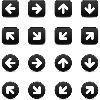 Black internet button with white arrow sign. Round and square shapes with shadow on white background. This vector illustration saved in 8 eps