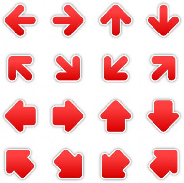 Red arrow sign sticker web button