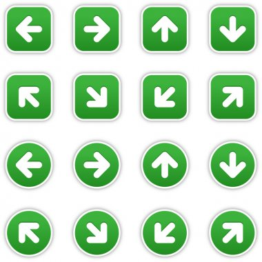 Green stickers with arrow sign