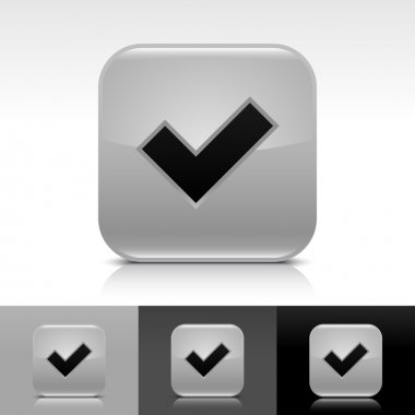 Gray glossy web button with black check mark sign.