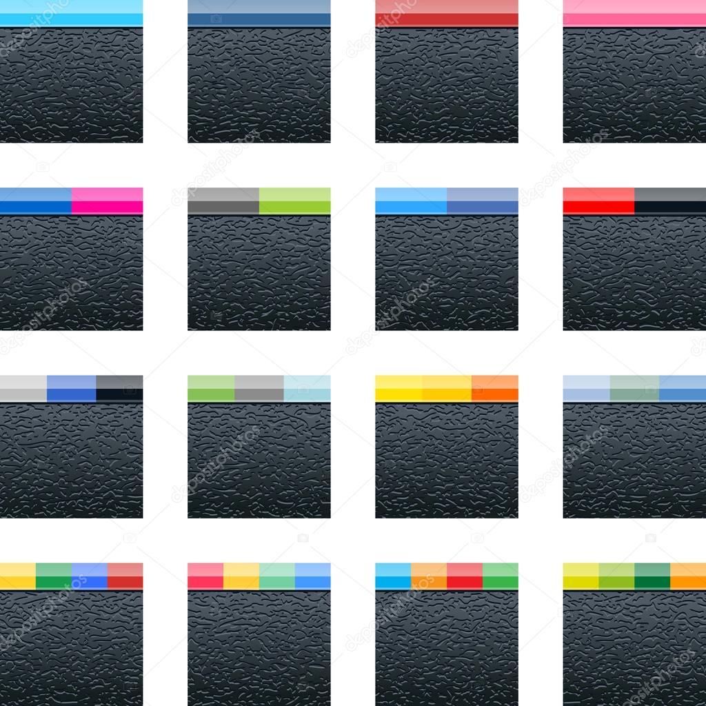 Icone De 16 Reseaux Sociaux Vide Noir De Forme Carree Avec Texture