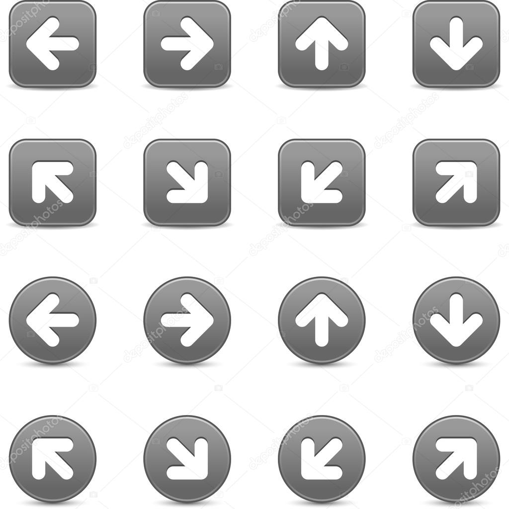 Gray scale internet button with white arrow sign. Round and square shapes with shadow on white background. This vector illustration saved in 8 eps