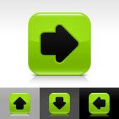 zelený lesklý web tlačítko s černou šipkou