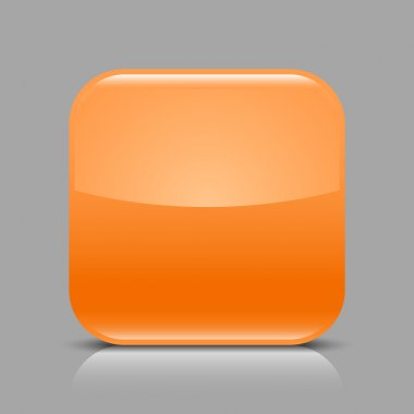 Orange glossy blank internet web button. Rounded square shape icon with black shadow and white reflection on light gray background. This vector illustration created and saved in 8 eps