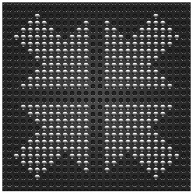 4 chrome metal arrow symbol on seamless dark gray dot perforated texture background. This vector illustration saved in 10 eps
