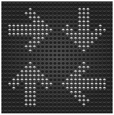 4 chrome metal arrow signpost on dark seamless pattern. Black dot perforated texture background. This vector file saved in eps 10 format