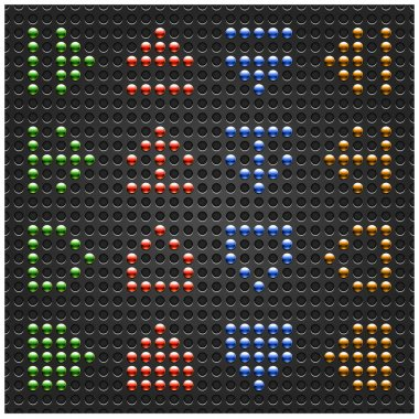 Chrome metal arrow button on dot perforation texture background. Green, red, blue and orange colors. This file created and saved in a format 10 eps