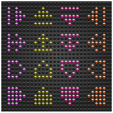 Chrome metal arrow sign on dot perforation texture background. Violet, yellow, pink and brown colors. This file created and saved in a format 10 eps