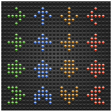 Chrome metal arrow symbol on black dotted perforated texture background. Green, blue, orange and red colors. This file saved in a format 10 eps