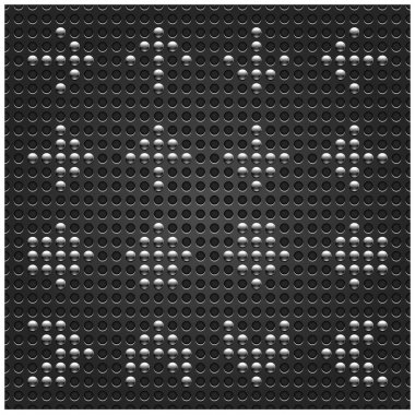 Chrome metal arrow button on dotted perforated texture dark gray background. This vector illustration file saved in format 10 eps