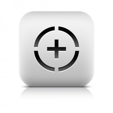 Stone web button plus sign in circle symbol. White rounded square shape icon with black shadow and gray reflection on white background. Vector illustration in wire mesh technique and saved in 8 eps