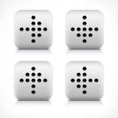 Arrow sign digital display black dot. Stone web button gray rounded square shape icon with black shadow and gray reflection on white background. This vector illustration created and saved in 8 eps