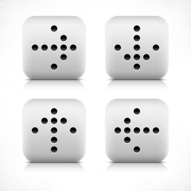 Stone web button black dotted arrow sign. Gray rounded square shape icon with shadow and reflection on white background. This vector illustration created and saved in 8 eps