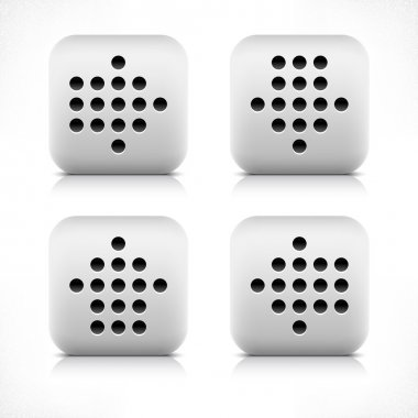 Stone black dotted arrow sign web button. Gray rounded square shape icon with reflection and shadow on white background. This vector illustration created and saved in 8 eps