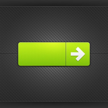White right arrow sign on rounded rectangle web button. Glowing shape with drop shadow on black metal background. This vector illustrations saved in 10 eps. See more internet button in my gallery