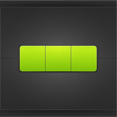 Web button element design. Green empty form with glow and shadow. Satin soft smooth rounded rectangle shape on black metal background with texture. This vector illustration saved in 10 eps