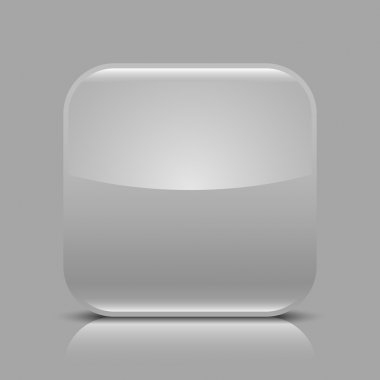 Gray glossy blank internet web button. Rounded square shape icon with black shadow and white reflection on light gray background. This vector illustration created and saved in 8 eps