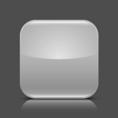 Gray glossy blank web button. Rounded square shape icon with black shadow and colored reflection on dark gray background. This vector illustration created and saved in 8 eps