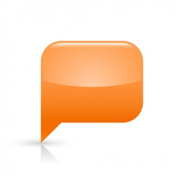 Orange glassy empty speech bubble web button icon