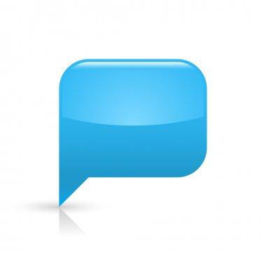 Blue glassy empty speech bubble web button icon