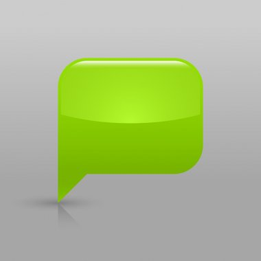 Green glossy blank speech bubble icon web button