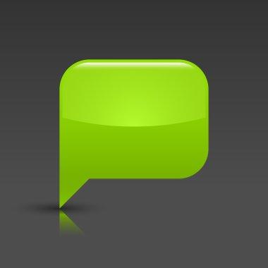 Green glossy blank speech bubble icon web button