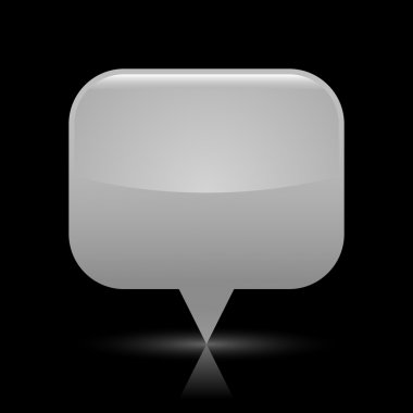 Gray glassy empty map pin button web icon. Rounded rectangle shape with glowing shadow and color reflection on black background. This vector illustration saved in file eps 8