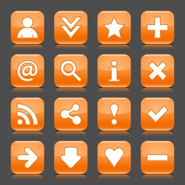 16 glossy orange icon with basic sign. Rounded square shape internet web button with color reflection and black shadow on dark gray background. This illustration vector design elements saved 8 eps clip art vector