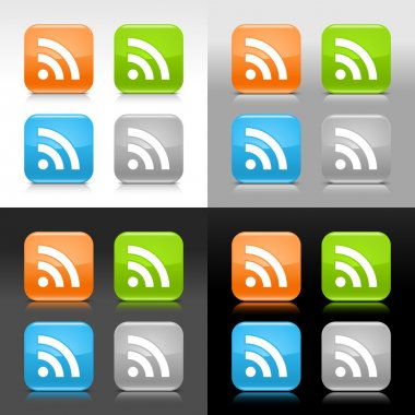 Color glossy web internet button with RSS feed sign. Rounded square icon with shadow and reflection on four background. This vector saved in 8 eps. Do not contain effects and transparency