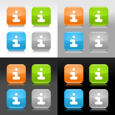 Color glossy web internet button with information symbol. Rounded square icon with shadow and reflection on four background. This vector saved in 8 eps. Do not contain effects and transparency