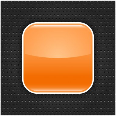 Orange glossy blank web button with white border frame. Rounded square shape icon with black shadow. Dark gray background metal perforation texture. This vector illustration saved in 10 eps