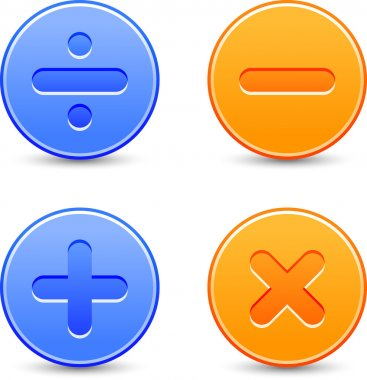 Satin calculator icons. Orange and blue web buttons with shadow on white background. Division, minus, plus, multiplication signs for internet. Vector illustration clip-art design elements saved 8 eps