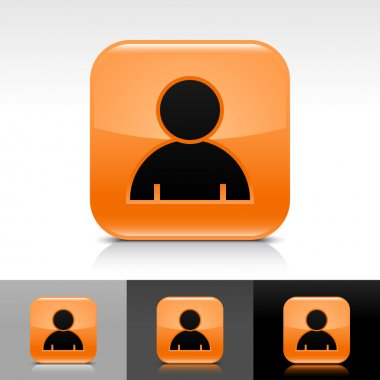 Orange glossy web button with black user profile sign. Rounded square shape icon with shadow, reflection on white, gray, black background. Vector 8 eps.