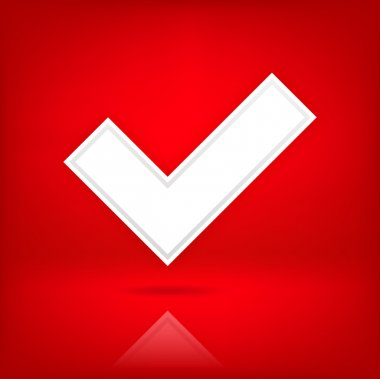 White check mark sign. Web icon button. Satin shape with black shadow and transparent reflection on dark red background. This vector illustration clip-art element for design saved in 10 eps