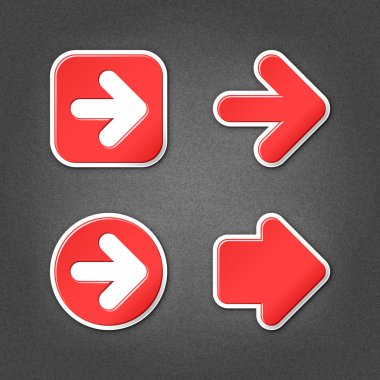 4 red sticker arrow sign web icon