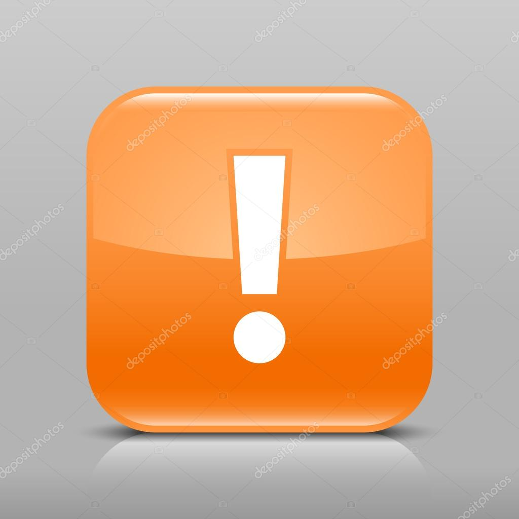 Orange glossy web button with attention warning sign