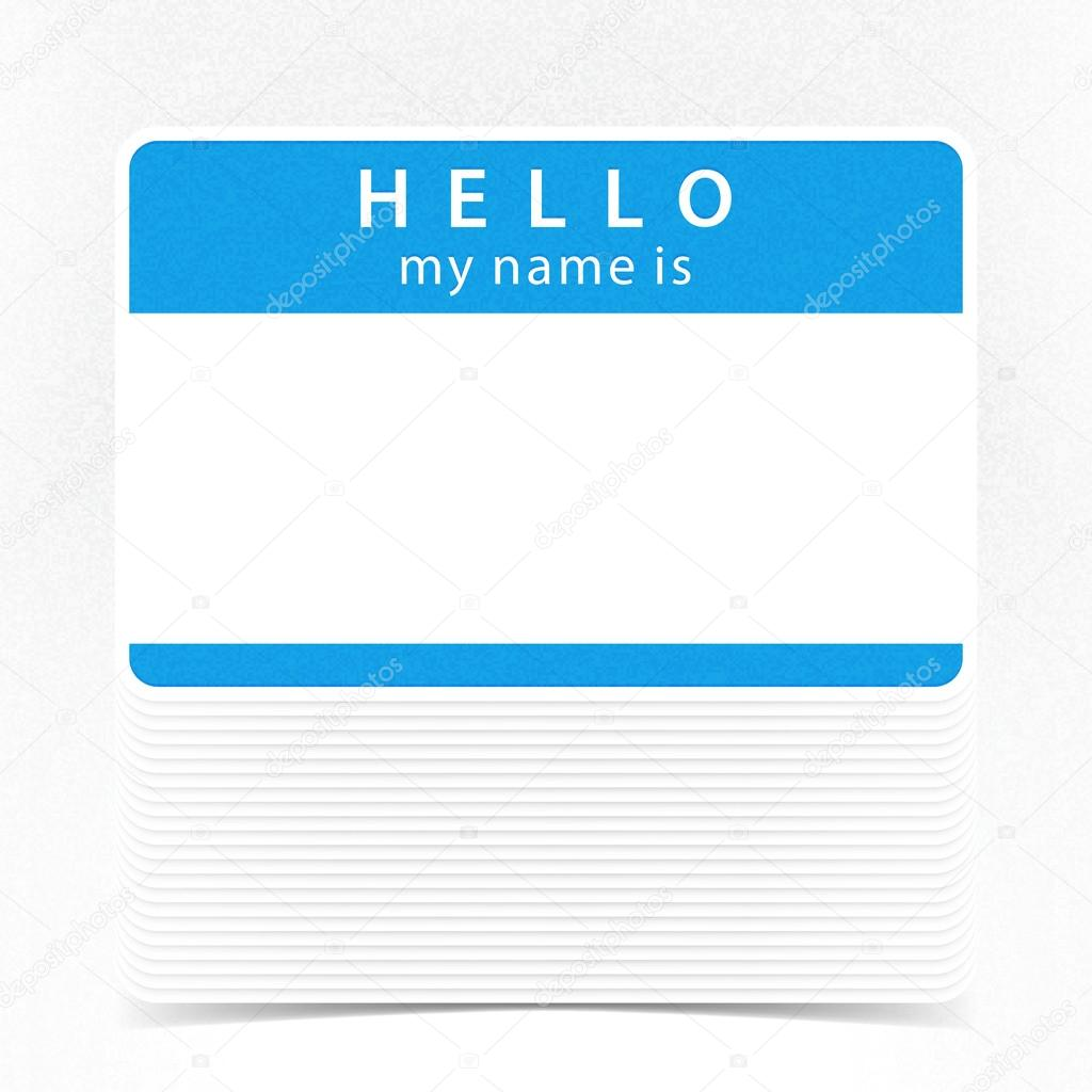 Blue name tag blank sticker