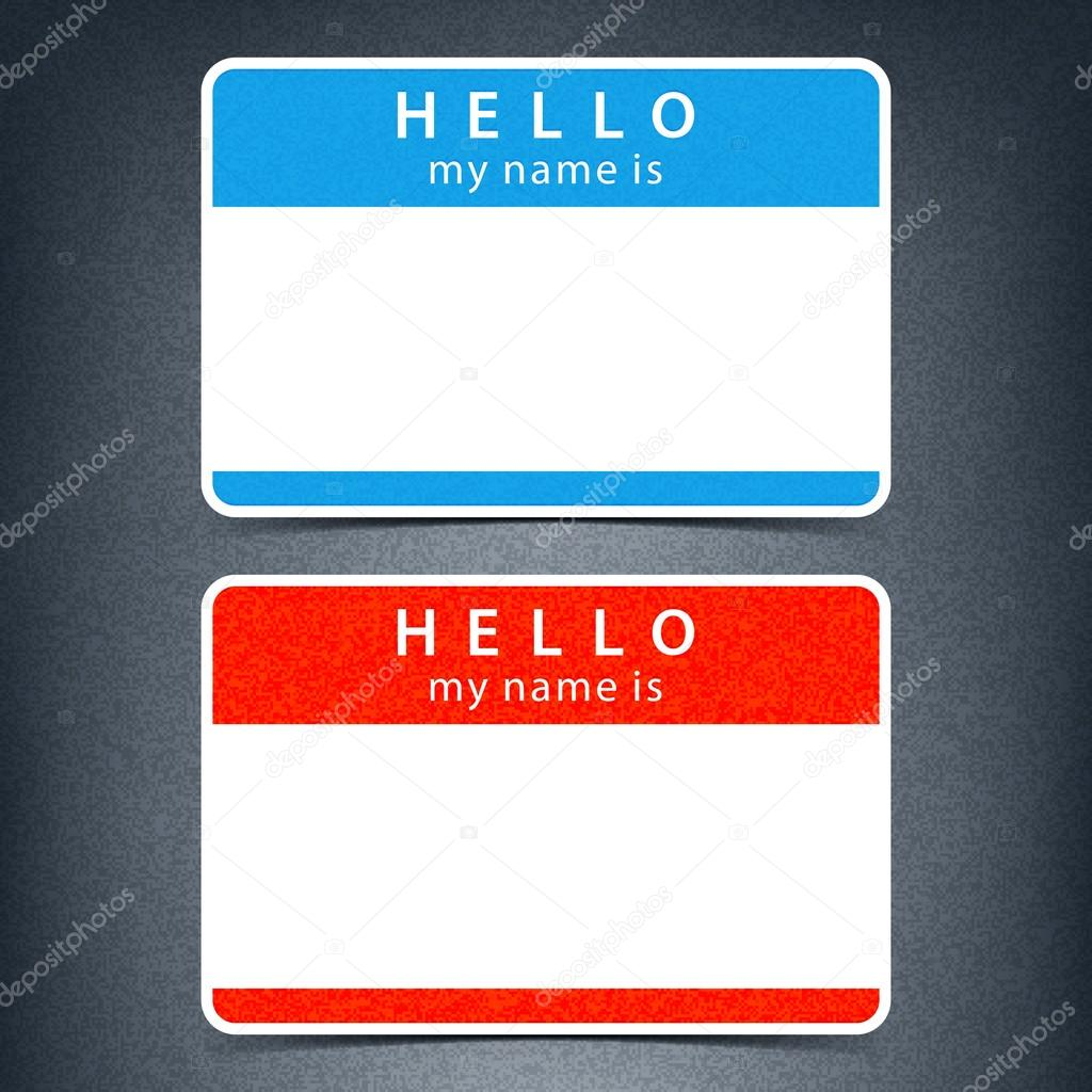 H tag background image - Blue And Red Name Tag Blank Sticker Hello My Name Is With Drop Black Shadow On Dark Gray Background With Noise Grain Texture